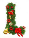Christmas Alphabet Letter L Stock Images