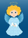 Christmas angel in the blue cartoon illustration Stock Photo