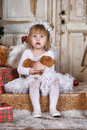 Christmas angel girl in white clothes Royalty Free Stock Image