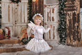 Christmas angel girl in white clothes Stock Photography