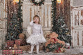 Christmas angel girl in white clothes Royalty Free Stock Images