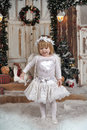 Christmas angel girl in white clothes Royalty Free Stock Photography