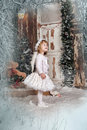Christmas angel girl in white clothes Royalty Free Stock Photo