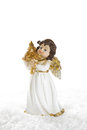 Christmas angel isolated for a christmas card or religious bac decoration guardian in white and gold greeting Stock Photography