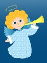 Christmas angel plays in the blue cartoon illustration Royalty Free Stock Images