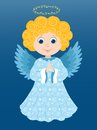 Christmas angel prays in the blue cartoon illustration Stock Photos
