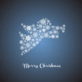 Christmas angel silhouette with snowflakes Royalty Free Stock Image