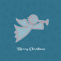 Christmas angel silhouette with snowflakes on the background Royalty Free Stock Photo