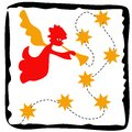 Christmas angel with stars illustration Stock Images