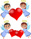 Christmas angels bringing love two illustrations featuring bob and meg xmas flying and holding big hearts isolated on white Stock Image