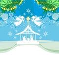Christmas Angels. Christmas religious nativity scene card Royalty Free Stock Photo