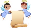 Christmas angels flying holding blank parchment illustration featuring bob and meg xmas and for your text invitation wishing list Stock Images