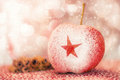 Christmas apple with a star in powder Stock Image