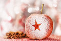 Christmas apple with a star in sugar powder Stock Image