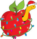 Christmas Apple Worm Stock Images