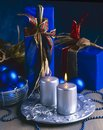 Blue and Argent Christmas Ornaments. Royalty Free Stock Photo
