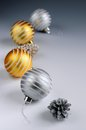 Christmas arrangement glass bauble ornaments pine cones Stock Photo