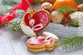 Christmas assortment with santa claus s mitten for holiday Stock Image