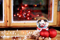 Christmas atmosphere decoration and a glass ball Royalty Free Stock Photography