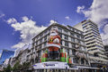 Christmas auckland new zealand dec santa claus and two deer decorated on a building for in auckland downtown Royalty Free Stock Photo