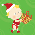 Christmas baby holding a present Royalty Free Stock Photo