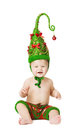 Christmas Baby Kid in Green Hat Decoration As Xmas Tree Child Royalty Free Stock Photo