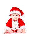 Christmas baby in santa claus clothes over white background Royalty Free Stock Photos