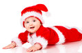 Christmas baby in santa claus clothes over white background Stock Photo