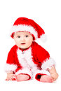 Christmas baby in santa claus clothes over white background Royalty Free Stock Photo