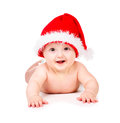 Christmas baby in santa claus hat over white background Stock Photography