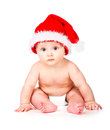 Christmas baby in santa claus hat over white background Royalty Free Stock Photo