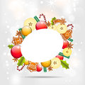 Christmas background with apples and gingerbread Stock Image