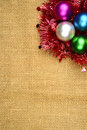 Christmas background ball on the burlap concept Stock Photography