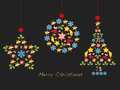 Christmas background with ball star and tree Royalty Free Stock Image