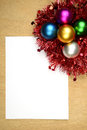 Christmas background ball on the wooden concept you can put your message on the paper Stock Image