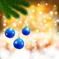 Christmas background with balls on a branch Stock Image