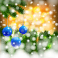 Christmas background with balls on a branch Royalty Free Stock Image