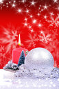 Christmas background with balls and candle Stock Photos