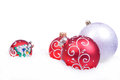 Christmas background with balls isolated on the white Royalty Free Stock Images