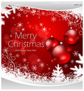 Christmas background and balls in red & text Stock Photography