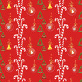 Christmas background with balls sweets and bells seamless vector pattern Royalty Free Stock Photography