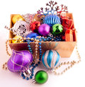 Christmas background with basket full of color balls for holiday design Stock Photography