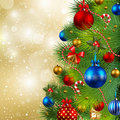 Christmas background with baubles and christmas tr Royalty Free Stock Photo