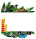 Christmas background with baubles pine cones and wreath candles white place for text Stock Images