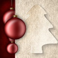 Christmas background baubles shape of tree and blank pap xmas paper sheet Stock Photo