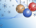 Christmas background beautiful blue with snowflakes and balls Stock Images