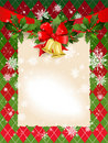 Christmas  background with bells and holly Stock Photography