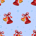 Christmas background with bells and snowflakes seamless vector pattern Stock Photo