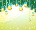 Christmas background with bells and tree Stock Photo