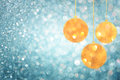 Christmas background with blue bokeh lights and christmas balls Royalty Free Stock Photo